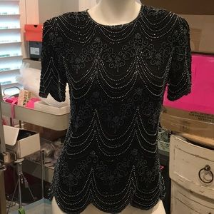 STUNNING VINTAGE PERFECT CONDITION BEADED BLOUSE